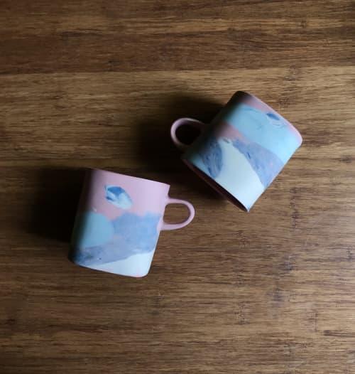 pink nerikomi mug   Cups by Renee's Ceramics