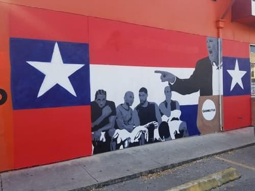 Street Murals by Albert Gonzales seen at Carmelita's, San Antonio - Pop For President